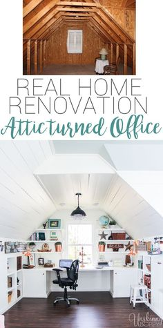 Check out this amazing Attic Renovation Before and After! They renovated the attic space above the garage into an incredible office and playroom!    Love that shiplap and copper lighting.