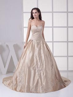 Strapless Satin Wedding Gown with Metallic Embroidery,Wedding Gowns,New Arrival $239.00