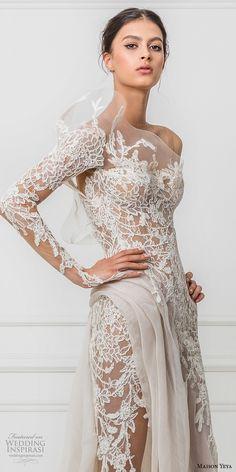 maison yeya 2017 bridal one side long sleeves heavily embroidered bodice elegant glamorous lace sheath wedding dress illusion lace back sweep train (3) zv