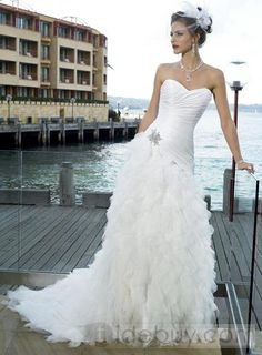 Perfect White Mermaid Sweetheart Sleeveless embroidery Wedding Dresses