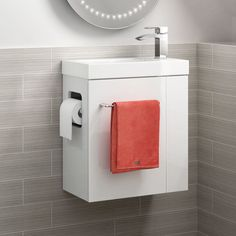 Brooklyn All in One Gloss White Vanity Unit - Wall Hung White Vanity Unit, Cloakroom Vanity Unit, Vanity Units, Cloakroom Ideas, Small Downstairs Toilet, Small Toilet, Small Bathroom, Downstairs Cloakroom, Master Bathroom