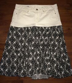 Up-Cycled Denim Topped Peasant Skirt White Denim by reconstruKteD