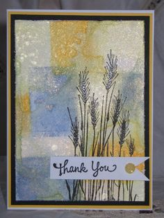 handmade card ... color blocking with misted inks on acrylic block ... beautiful technique ... embossed wheat ... like it!