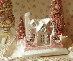 PINK PUTZ Christmas House with Bottle Brush Trees  by IllusiveSwan