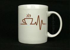 COFFEE HEARTBEAT | Coffee Mug | Cute Coffee Mug | Coffee Cup | Funny Coffee Mugs | Inspirational Quotes on Mugs | SUBLIMATION Design