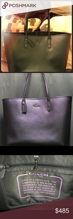 Coach Hologram City Tote Hard To Find Coach NWT oil slick color changes with the lighting. Hard to capture in a photo but so beautiful! This bag is awesome! Coach Bags Shoulder Bags