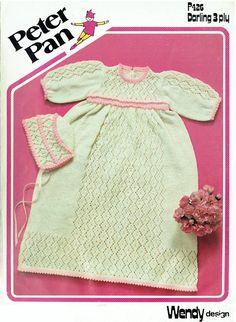 Original Vintage Baby Girl Christening Dress & Bonnet Knitting