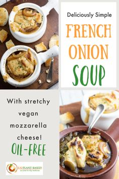 I absolutely love soup, and this is one that is at the top of my favorites list. Topped with sourdough bread and vegan mozzarella, I think you are going to be amazed by this vegan French onion soup recipe's incredibly warm texture and taste. #frenchonionsoup #veganfrenchonionsoup #vegansoup #plantbasedsoup #wfpbsoup
