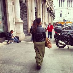 #leather / green maxi