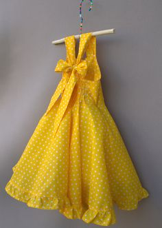 Yellow polka dot dress Cute girls dress by PapatyaGirlsCouture Cute Girl Dresses, Girls Party Dress, Little Girl Dresses, Flower Girl Dresses, Polka Dot Summer Dresses, Yellow Dress Summer, Girls Summer Dresses, Toddler Dress, Baby Dress