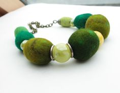 Spring Green Felted Necklace / Textile Jewelry / St by FeltMeadow, $60.00
