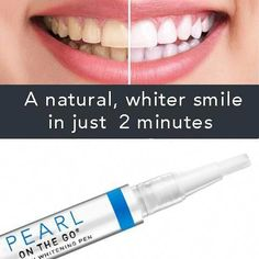 Get Whiter Teeth in just 2 minutes! Our Pearl™ Teeth Whitening Pen has been designed with speed and convenience in mind. The FDA approved, pocket-sized whitening pen makes it easy for you to take anywhere. Remove all unwanted stains instantly and see instant results with whiter teeth just 2 minutes. Get that confident, courageous, contagious smile on the go with Pearl Teeth Whitening Pen. Getting white teeth has never been easier or more affordable. The av #OvernightAcneBeautyTips Teeth Whitening Remedies, Natural Teeth Whitening, Whitening Kit, Skin Whitening, Activated Charcoal Teeth, Charcoal Teeth Whitening, Charcoal Toothpaste, Get Whiter Teeth, Clean Teeth