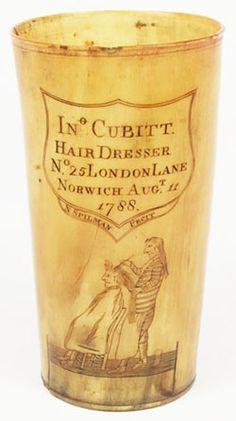 NATHANIEL SPILMAN HORN BEAKER - THE HAIRDRESSER, Dated: August 11, 1788