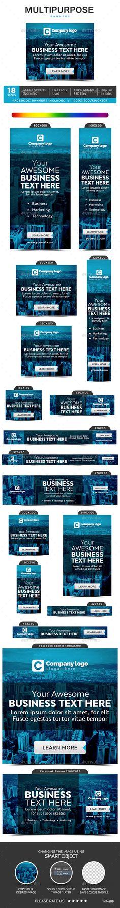 Multipurpose Web Banners Template #design #ad Download: http://graphicriver.net/item/multipurpose-banners/13112173?ref=ksioks