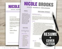 Purple Resume Template - Resume and Cover Letter Template - Instant Download - Template Word