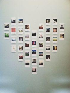 DIY Projects to Turn Your Photos into Wall Art Polaroid heart wall art is so cute!Polaroid heart wall art is so cute! Polaroid Display, Polaroid Wall, Polaroid Pictures Display, Instax Wall, Polaroid Photos, Polaroids On Wall, Polaroid Decoration, Polaroid Camera, Ways To Hang Polaroids