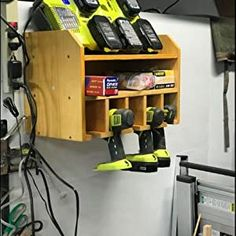 Power Tool Organizer, Sunix Power Tool Charging Station Drill Wall Holder Wall Mount Tools Garage Storage (Power Strip is Not Included) – Power Tools On Sale Tool Wall Storage, Storage Shed Organization, Power Tool Storage, Garage Storage Shelves, Workshop Storage, Power Tools, Diy Storage Projects, Wood Shop Projects, Power Tool Organizer