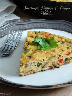 Simple and Delicious Sausage, Pepper & Onion Frittata perfect for breakfast, lunch or dinner