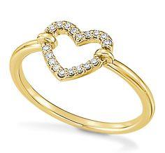 Pretty 100% 14K Yellow Gold & White Diamond Open Heart Shape Ring .10ct #Fashion #SpecialOccasion