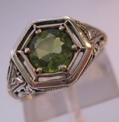$75.00 2CT Natural Peridot Sterling Silver Edwardian Style Filigree Ring Sz 6 Vintage Jewelry Jewellery FREE SHIPPING by BrightEyesTreasures on Etsy