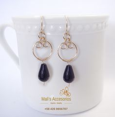 Black Onyx Gemstone Earrings, Jewelry handmade, Gold Filled 14k