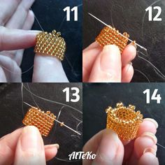 Step by step pictures for tassel cap ~ Seed Bead Tutorials Tassel Jewelry, Seed Bead Jewelry, Beaded Jewelry, Handmade Jewelry, Beaded Bead, Seed Bead Tutorials, Beading Tutorials, Beading Patterns, Beaded Earrings