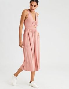 AE Twist Front Culotte Jumpsuit by  American Eagle Outfitters | The details are what tie it together. Make it yours.The details are what tie it together. Make it yours. Shop the AE Twist Front Culotte Jumpsuit and check out more at AE.com.