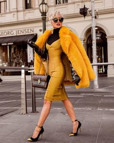 "20.6k Likes, 259 Comments - MICAH GIANNELI (@micahgianneli) on Instagram: ""Stay golden ✨ Dress by @houseofcb (turtleneck worn underneath) // Coat is faux fur // Earrings &…"""
