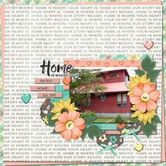 Home is where your [heart] is!  Digital scrapbooking layout created with template pack YOU'VE BEEN SNAPPED Vol 4 from Jen C Designs and papers and elements from Digital Scrap Parade May 2017 freebies HOME IS (Anita Designs, Meagan's Creations, Laura Banasiak, and LJS Designs)