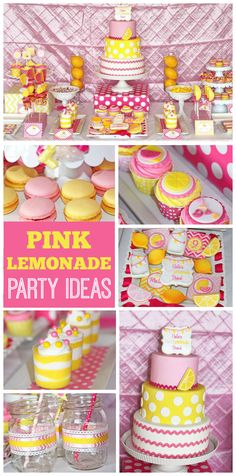 A pink lemonade girl birthday party with fantastic cookies, cake and party decorations! See more party planning ideas at CatchMyParty.com!