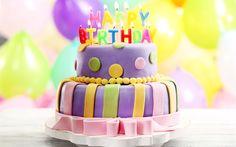 壁紙をダウンロードする お誕生日おめで, ケーキろうそく, 誕生日ケーキ, キャンドル