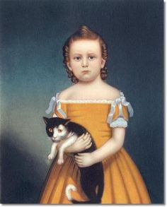 American Folk Art Painting Portrait by William Thompson Bartoll - Girl in Orange Dress with Cat 1840 - 30 x 24 Approximate Original Size in Inches I can imagine the real-life sitting had much more movement! Munier, Cat Art Print, Vintage Art Prints, Charles Darwin, Primitive Folk Art, Naive Art, American Art, Early American, Pictures To Paint