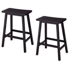 "Free Shipping. Buy Ktaxon Set of 2 Saddle Seat 24"" Bar Stools Wood Dining Room Kitchen Pub Chair,Black at Walmart.com"