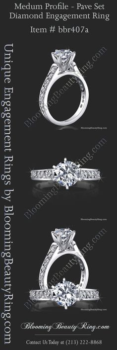 Custom Diamond Engagement Ring Hand-Made in the USA anyway you order it!  Choose 4 Prongs or 6 Prongs, Choose your metal, Choose your center stone, you order it-we make it!  BloomingBeautyRing.com  (213) 222-8868