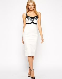 Paperdolls Bodycon Dress with Lace Bodice