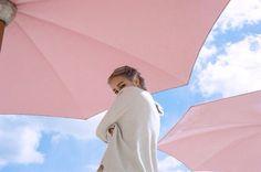 Pantone's ColorS 2016:  Rose Quartz umbrellas and Serenity blue sky