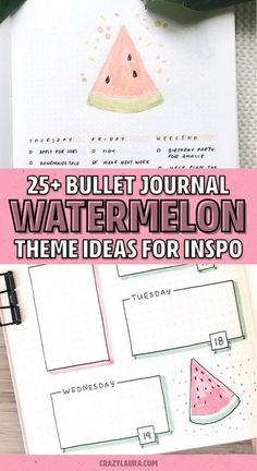 The ultimate collection of bullet journal WATERMELON themed spreads for inspiration! #bujo #bujotheme #bulletjournal #bujoideas