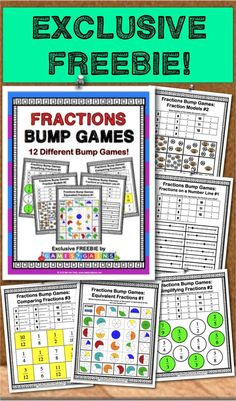Get this exclusive FREEBIE when you subscribe to the mailing list at Games4Gains.com.  These 12 Fraction Bump Games include differentiated practice for fraction models, fractions on a number line, equivalent fractions, comparing fractions, and simplifying fractions.