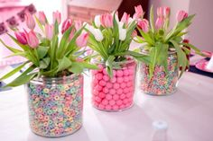 fun fruit loops or gumball centerpieces