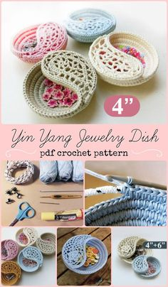 Ying Yang Dish - Ying Yang Dish I love these gorgeous yin yang jewelry dishes and now I can crochet one myself! Here's a great, detailed pattern for these intricately designed decorative crochet bowls! Great find by craft evangelist! Crochet Bowl, Crochet Basket Pattern, Crochet Diy, Crochet Amigurumi, Crochet Gifts, Crochet Patterns, Diy Crochet Jewelry, Crochet Storage, Crochet Earrings