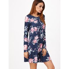 SheIn(sheinside) Navy Floral Print Long Sleeve Swing Dress ($14) ❤ liked on Polyvore featuring dresses, short blue dresses, blue dress, long sleeve dress, long-sleeve maxi dresses and blue long sleeve dress