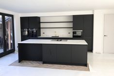 Full height units with display shelves running between create a feeling of symmetry and openness Parisian Kitchen, Swedish Kitchen, Cosy Kitchen, Scandinavian Kitchen, Kitchen Decor, Kitchen Furniture, Kitchen Interior, Kitchen Banquette, Small Kitchen Layouts