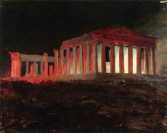 Frederic Edwin Church (1826-1900), Parthenon, Athens, from the Northwest (Illuminated Night View) - 1869