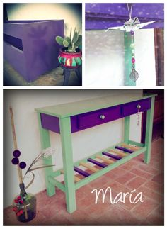 Mesa de arrime + macetero para cañas.- http://facebook.com/nuvemnegradeco