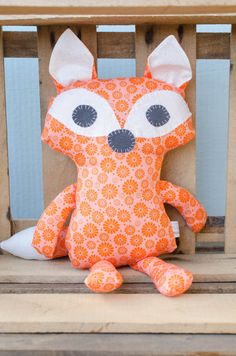 Whimsical Woodland Fox in an Orange Floral Pattern by MilkAndBones Cute stuffed fox animal, perfect friend for a young child. Cute, cuddly, crafty, adorable. Found on Etsy