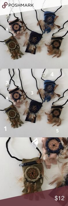 """Dream Catcher Jewelry/Necklace Pouch Dream catcher jewelry/necklace Pouch for your gems. Small necklace pouches with leather and feather fringe. Size: 1-1/2"""" w x 2-1/2"""" h. Strap is approximately 31-1/2"""" long. Three Bird Nest Bags Mini Bags"""