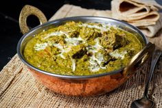 Lamb Saagwala - A delicious, mildly spiced dish of lamb and spinach curry. Serve with naan and rice for an epic meal. Lamb Recipes, Curry Recipes, Meat Recipes, Indian Food Recipes, Cooking Recipes, Ethnic Recipes, Indian Foods, Diner Recipes, Healthy Recipes