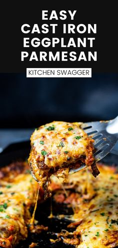 Easy and delicious crispy eggplant parmesan layered with mozzarella and parmesan cheese and baked in a cast-iron skillet. Fried eggplant has an unbeatable flavor and texture. The recipe is simple and cleanup is a breeze!