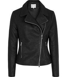 Flutter Tumble Black Grained Leather Biker Jacket - REISS
