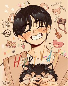 Taehyung Fanart, Vkook Fanart, Bear Wallpaper, Cartoon Wallpaper, Bts Drawings, Cartoon Drawings, V Chibi, Fan Art, Art Icon
